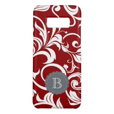 its_sparkle_motion Elegant Red Wine Floral Wallpaper Swirl Monogram Case-Mate Samsung Galaxy S8 Case