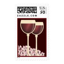 Elegant Red Wine & Flower Blossom Postage
