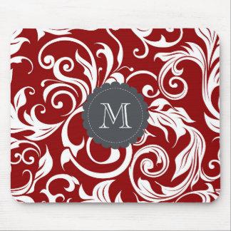 Elegant Red Wine Monogram Floral Wallpaper Mouse Pad