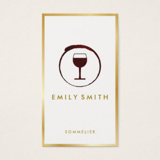Elegant Red Wine Stain Wine Glass Faux Gold Border Business Card
