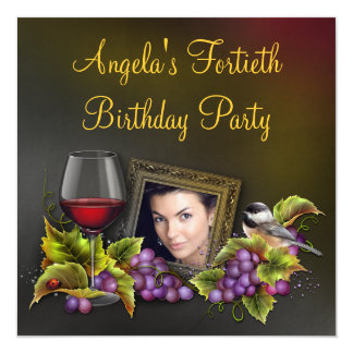 Elegant Red Wine Womans Photo Birthday Party Card