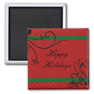 Elegant Red with Black embossed Swirls Christmas Magnet