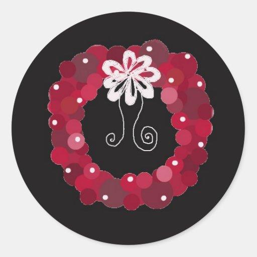 Elegant Red Wreath Design Stickers