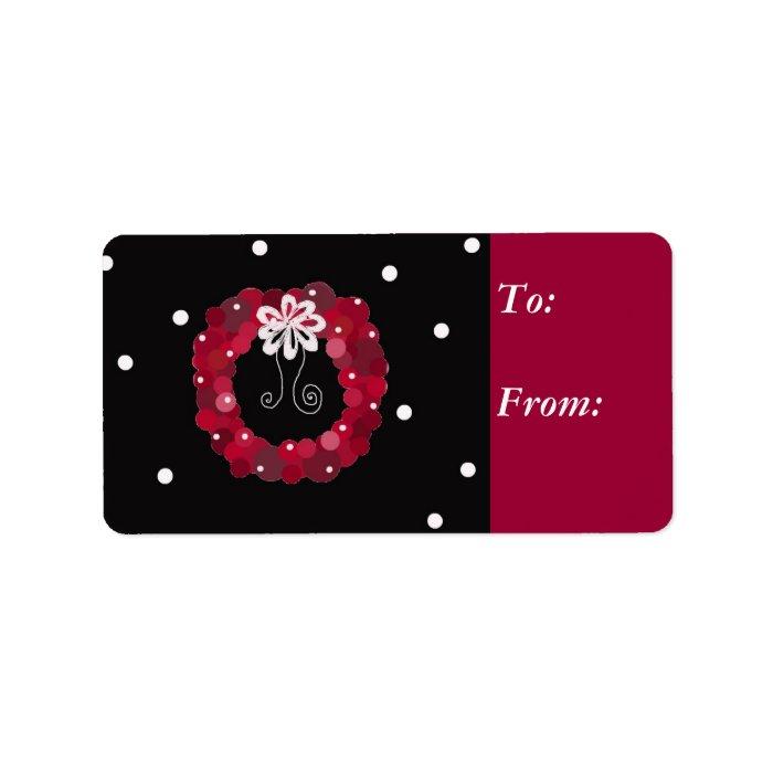 Elegant Red Wreath Gift Tag Label