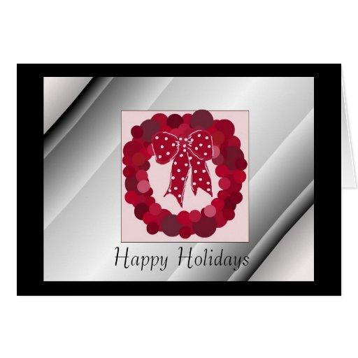 Elegant Red Wreath Greeting Cards
