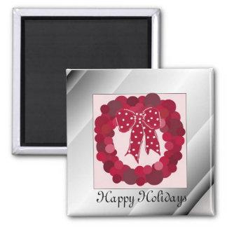 Elegant Red Wreath Magnet