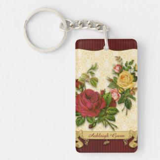 Elegant Red Yellow Roses Damask Vintage Cutouts Double-Sided Rectangular Acrylic Keychain