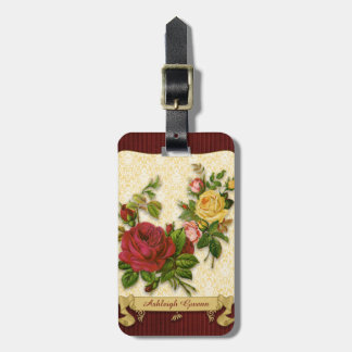 Elegant Red Yellow Roses Damask Vintage Cutouts Luggage Tag