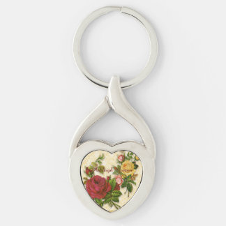 Elegant Red Yellow Roses Damask Vintage Cutouts Silver-Colored Heart-Shaped Metal Keychain