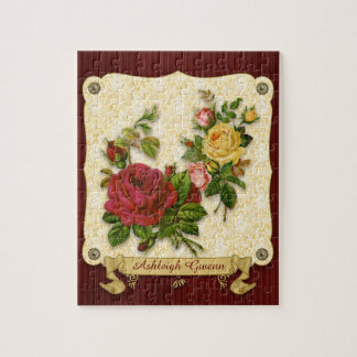 Elegant Red Yellow Roses Damask Vintage Cutouts Jigsaw Puzzle