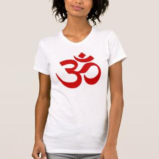 Elegant Red Yoga Meditation Zen OM Symbol T-Shirt