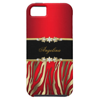 Elegant Red Zebra Black Gold iPhone 5 Cases