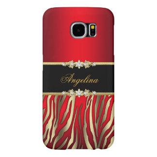 Elegant Red Zebra Black Gold Samsung Galaxy S6 Case
