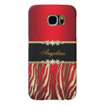 Elegant Red Zebra Black Gold Samsung Galaxy S6 Cases