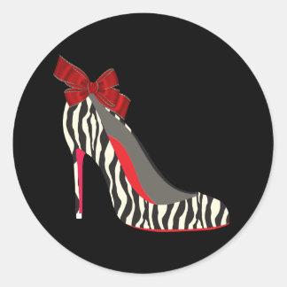 Elegant Red Zebra High Heel Shoe Stickers