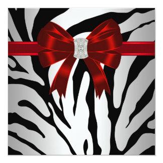 Elegant Red Zebra Party Invitation