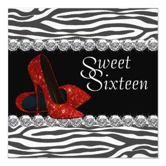 Elegant Red Zebra Sweet 16 Party Invitation