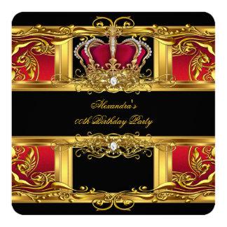 Elegant Regal Red Black Gold Queen Birthday 2 Card