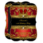 Elegant Regal Red Black Gold Queen Birthday Party Card