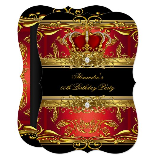 Elegant Regal Red Black Gold Queen Birthday Party Invitation