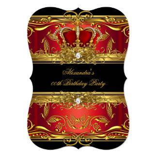 Elegant Regal Red Black Gold Queen Birthday Party Invite