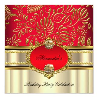 Elegant Regal Red Cream Gold Damask Birthday Card