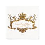 Elegant Regal Wedding Gold Text Paper Napkins