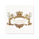 Elegant Regal Wedding Gold Text Paper Napkins