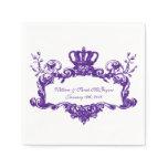 Elegant Regal Wedding Purple 2 Text Paper Napkins