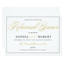 Elegant Rehearsal Dinner Black and Gold on White Invitation