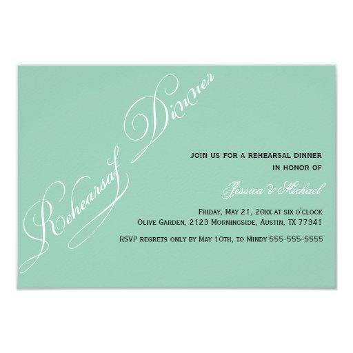 Elegant Rehearsal Dinner Emerald Invitation