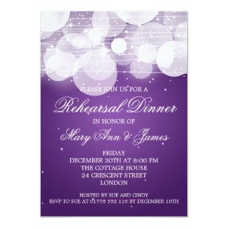 "Elegant Rehearsal Dinner Glow & Sparkle Purple 5"" X 7"" Invitation Card"