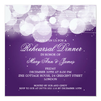 Elegant Rehearsal Dinner Glow & Sparkle Purple 5.25x5.25 Square Paper Invitation Card