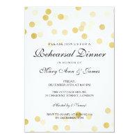 Elegant Rehearsal Dinner Gold Foil Glitter Lights 5x7 Paper Invitation Card (<em>$2.27</em>)