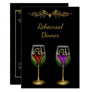 Elegant Rehearsal Dinner Invitation with Wine