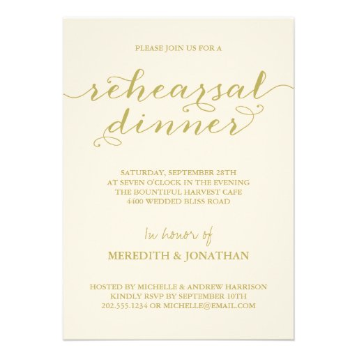 Elegant Rehearsal Dinner Invite