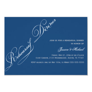 Elegant Rehearsal Dinner Monaco Blue Invitation