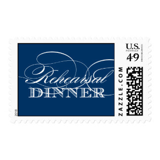 Elegant Rehearsal Dinner Postage (Navy) Postage Stamp