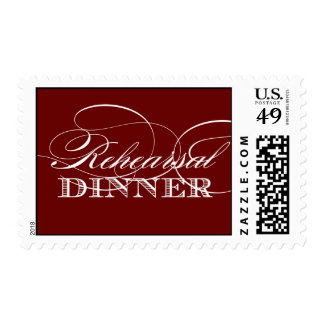Elegant Rehearsal Dinner Postage (Red) Postage Stamps