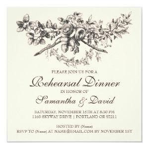 Elegant Rehearsal Dinner Vintage Floral Black 5.25x5.25 Square Paper Invitation Card