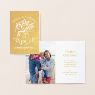 Elegant Reindeer Christmas Holiday Joy Gold Foil Foil Card