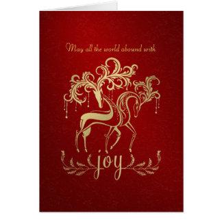 Elegant Reindeer Faux Gold-Foil Business Christmas Card