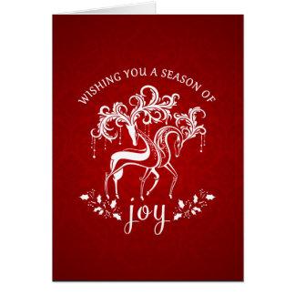 Elegant Reindeer Joy Christmas Holiday Card
