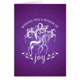 Elegant Reindeer Joy Custom Holiday Card