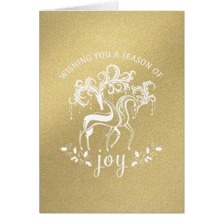 Elegant Reindeer Joy Gold Glitter Holiday Card