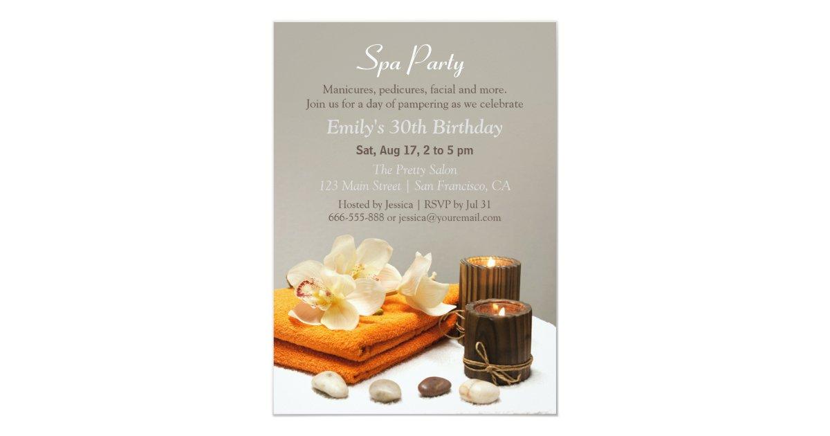 Elegant Relaxing Spa Birthday Party Invitations | Zazzle.com