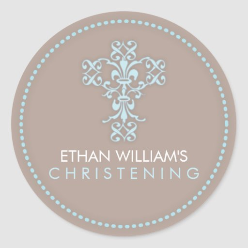 Elegant Religious Celebration Cross in Blue Sticker