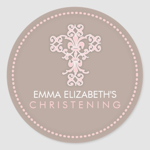 Elegant Religious Celebration Cross in Pink Round Sticker
