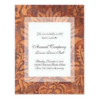 Elegant Renaissance Antique Leather Damask 4.25x5.5 Paper Invitation Card