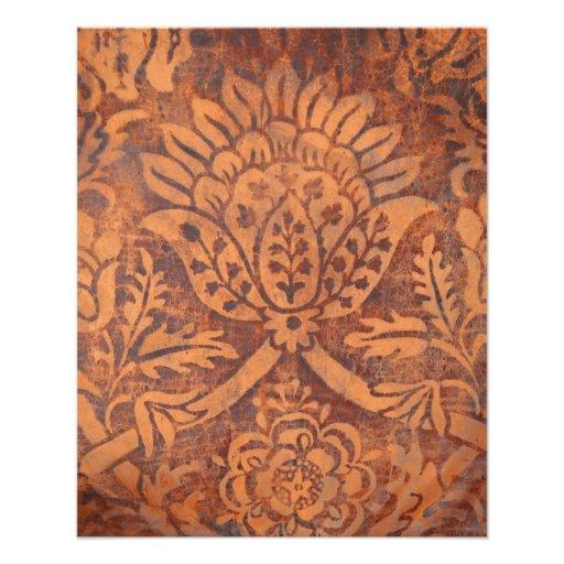 Elegant Renaissance Antique Leather Damask Personalized Flyer